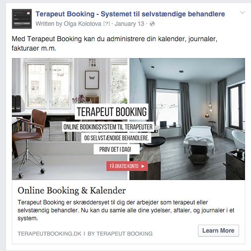 Her ses et eksempel på en Facebook reklame